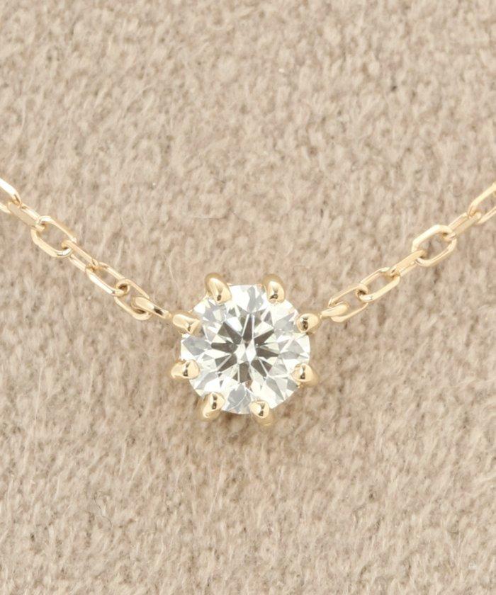 18KYG 0.2ct ダイヤモンド ネックレス H&C