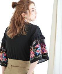 Bou Jeloud/★花柄刺繍 ボリュームスリーブTシャツ/500275788