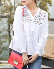 Re:EDIT/Vネックフラワー刺繍裾フレア切り替えシャツトップス/500293243