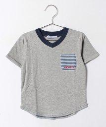 crocs(KIDS WEAR)/柄ポケットVネックTシャツ/500274800