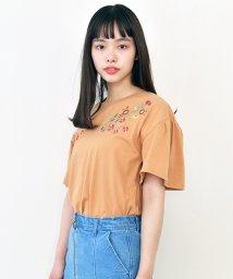 Ray Cassin /花刺繍フレア袖Tシャツ/500308383