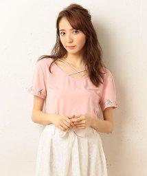 MIIA/エンブロイダリークロスTシャツ/500312041