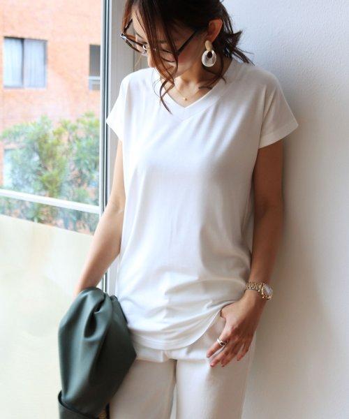 and Me...(アンドミー)/【N-9】UVカット クール素材 Vネック 半袖 Tシャツ/2000032