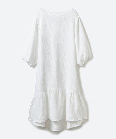 【haco!(ハコ)】すぽっと着られて着心地さわやかぽんわり袖ガーゼワンピース