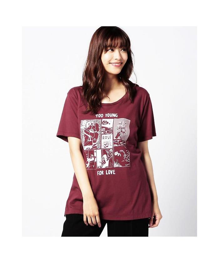 (FACE FOR ROSE BUD)コミックプリントTシャツ