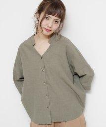 Ray Cassin /抜き衿Vネックゆるシャツ(無地/チェック)/500376330