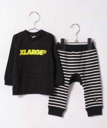 XLARGE KIDS/【一部予約】ロゴプリント入りトレーナー×ボーダーパンツセット/500378322
