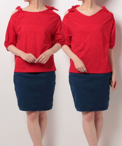 NICE CLAUP OUTLET(ナイスクラップ アウトレット)/【natural couture】肩リボンTシャツ/356610590