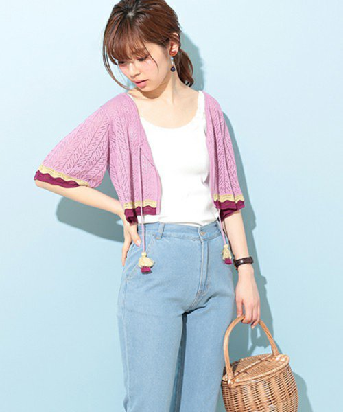 NICE CLAUP OUTLET(ナイスクラップ アウトレット)/【natural couture】配色スカラップボレロ/358830430