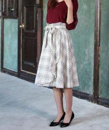 LAISSE PASSE/【MAGASEEK/d fashion限定】チェック柄ラップスカート/500415562