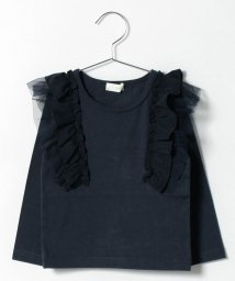 b-ROOM/シフォンチュール肩フリルつきTシャツ/500419947