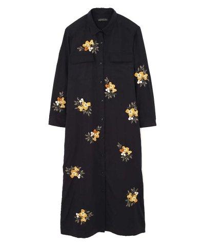 【ROSE BUD(ローズバッド)】フラワー刺繍シャツワンピース