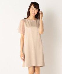 KUMIKYOKU(LARGE SIZE)/【結婚式やパーティに】サテンコンビチュールレース ドレス/500441032