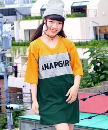 ANAP GiRL/切替配色BIG Tシャツワンピース/500434051