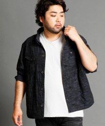HIDEAWAYS NICOLE L/カモフラージュ柄ジャカード織りシャツブル/500448035