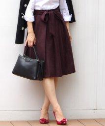 NARA CAMICIE/【セットアップ対応商品】ポリエステルスエードリボン付スカート/500460117