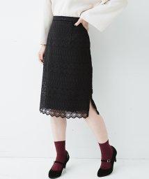 haco!/【mer1月号掲載】伸びる素材で楽しく女っぽくレースタイトスカート/500450405