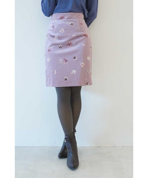 PROPORTION BODY DRESSING(プロポーション ボディドレッシング)/ベロアフラワープリントタイトスカート/1217220509