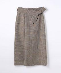 Ballsey/ポリエステルウールチェック ベルテッドスカート/500517095