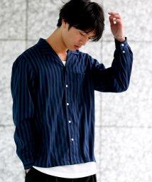 JUNRed/シャインストライプオープンカラーシャツ/500517455