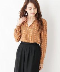 pink adobe/シフォンジョーゼットスキッパーシャツ/500520414