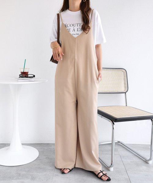 and Me...(アンドミー)/【N-11】キャミ サロペット Vネック ワンピース ワイドパンツ/1000521