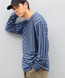 ADAM ET ROPE'/ストライプ切り替えロングスリーブTシャツ/500530902