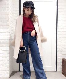 Noela/袖ボリュームファー付ノーカラーコート/500532096