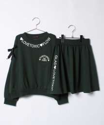 Lovetoxic/裏毛肩開きトレーナー×スカートセット/500522806
