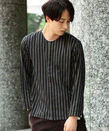 JUNRed/シャインストライプノーカラーシャツ/500535329