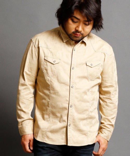 HIDEAWAYS NICOLE L(ハイダウェイニコル(大きいサイズ))/ストレッチ迷彩柄シャツ/7404-8000