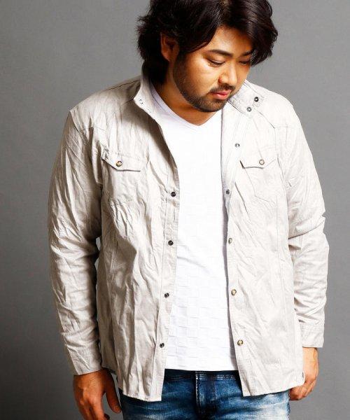 HIDEAWAYS NICOLE L(ハイダウェイニコル(大きいサイズ))/フェイクスウェードシャツ/7404-8003