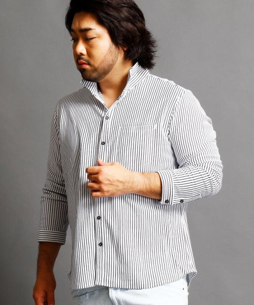 HIDEAWAYS NICOLE L(ハイダウェイニコル(大きいサイズ))/ストライプカットシャツ/7404-9930