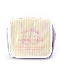 PINK-latte/ストライプトラベルポーチ/500545188