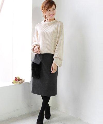 【REAL CUBE(リアルキューブ)】ウールタッチファーボアポケットスカート REAL CUBE