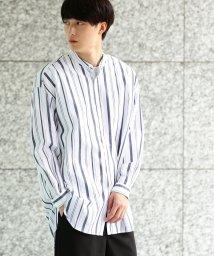 JUNRed/【ストライプ】バンドカラービッグシャツ/500537671