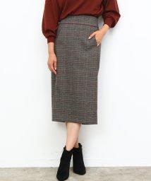 ROPE'/グレンチェックハイウエストロングタイトスカート/500544017