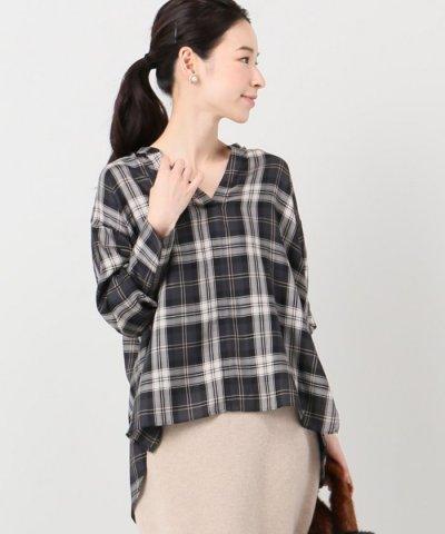 【IENA(イエナ)】チェックスキッパーシャツ