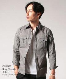 THE CASUAL/メンズ シャツ メンズファッション ストレッチ タイプライター スマートフィット ミリタリー シャツ SPU スプ/500563475
