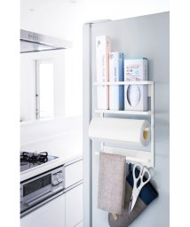 YAMAZAKI/マグネット冷蔵庫サイドラック プレート ホワイト/500547465