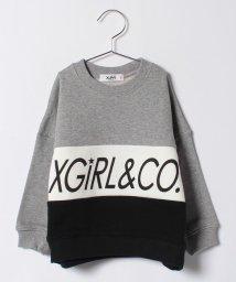 X-girl Stages/ロゴ入り配色デザインクルーネック裏毛トレーナー/500557915