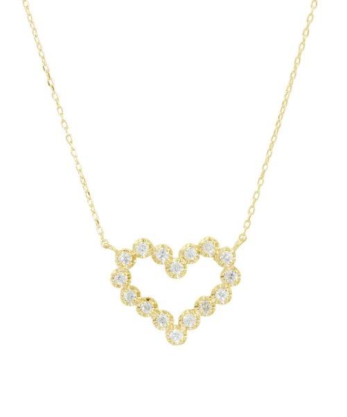 JEWELRY SELECTION(ジュエリーセレクション)/K18YG 天然ダイヤモンド 16石 0.2ct ハートネックレス/NSUZ1175102CTA40K18YG