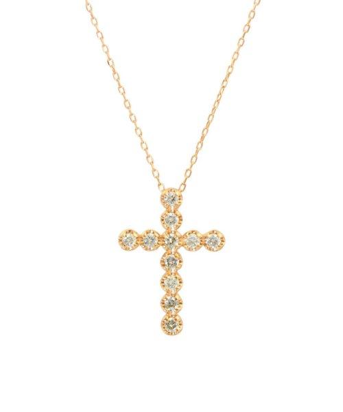 JEWELRY SELECTION(ジュエリーセレクション)/K18PG 天然ダイヤモンド 11石 0.2ct クロスネックレス/NSUZ1175302CTA40K18PG