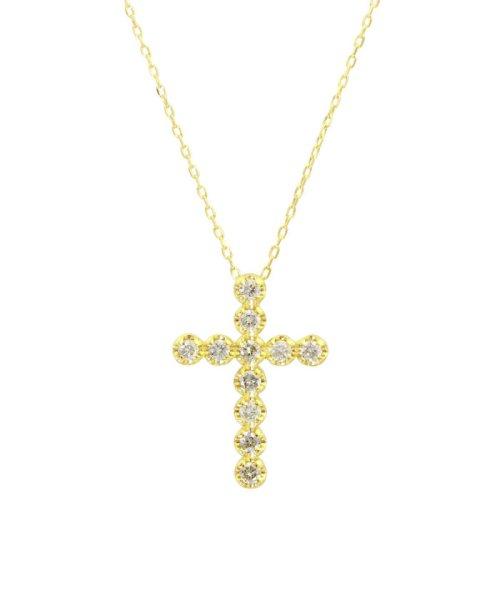 JEWELRY SELECTION(ジュエリーセレクション)/K18YG 天然ダイヤモンド 11石 0.2ct クロスネックレス/NSUZ1175302CTA40K18YG