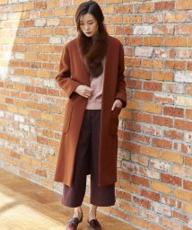 J.PRESS LADIES(LARGE SIZE)/MANTECO ノーカラーコート/500583302