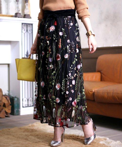 Bou Jeloud(ブージュルード)/カラフルフラワー刺繍チュールスカート/673029