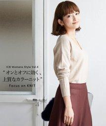 ICB(LARGE SIZE)/【洗える】【カシミヤ混】Linda Vネックニット/500587397