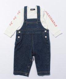 XLARGE KIDS/アイコンプリント入りデニムサロペット×ロゴスターデザイン袖Tシャツセット/500575611