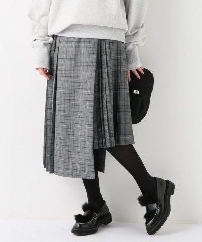 【JOURNAL STANDARD(ジャーナルスタンダード)】チェック ムジ プリーツラップスカート