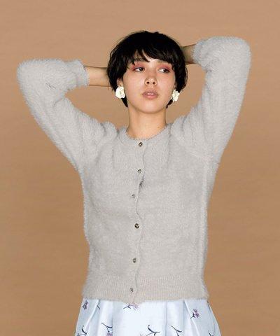 【31 Sons de mode(トランテアン ソン ドゥ モード)】フェザービジュー釦クルーネックカーディガン